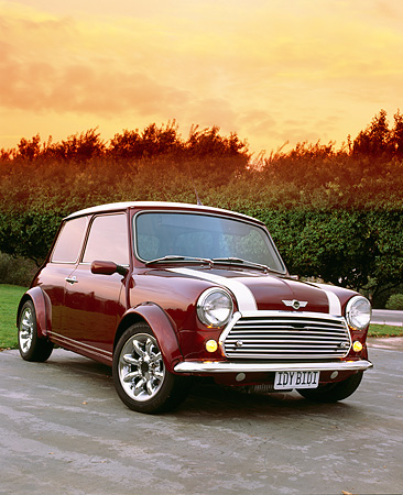 AUT 23 RK0662 04 © Kimball Stock 1972 Canadian Austin Mini 1000 Burgundy With White Stripes 3/4 Front View On Pavement Trees Filtered