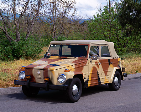 AUT 23 RK0749 01 © Kimball Stock 1973 VW Thing 181 Camouflage 3/4 Front View On Pavement By Trees Grass Sky