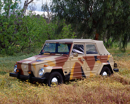 AUT 23 RK0751 01 © Kimball Stock 1973 VW Thing 181 Camouflage 3/4 Front View In Field By Trees