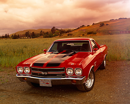 AUT 23 RK0756 06 © Kimball Stock 1970 Chevrolet El Camino Super Sport 396 Red And Black