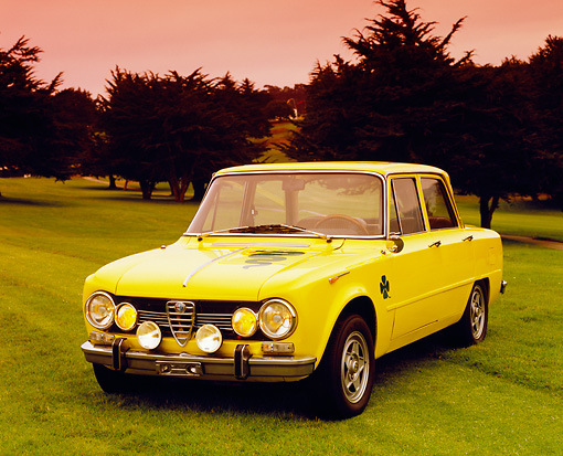 AUT 23 RK0866 02 © Kimball Stock 1970 Alfa Romeo Giulia Super Yellow 3/4 Front View On Grass