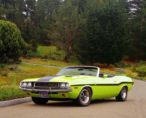 AUT 23 RK0920 03 © Kimball Stock 1970 Dodge Challenger R/T Convertible Sublime Low 3/4 Front View On Pavement