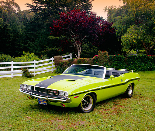 AUT 23 RK0922 04 © Kimball Stock 1970 Dodge Challenger R/T Convertible Sublime 3/4 Front View On Grass