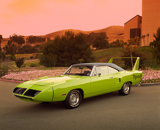 AUT 23 RK0932 04 © Kimball Stock 1970 Plymouth Superbird Lime Green 3/4 Side View On Pavement