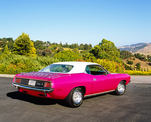 AUT 23 RK0937 04 © Kimball Stock 1970 Plymouth Hemi Cuda Pink And White 3/4 Rear View On Pavement By Trees