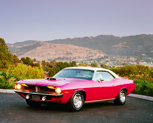 AUT 23 RK0941 04 © Kimball Stock 1970 Plymouth Hemi Cuda Pink And White 3/4 Side View On Pavement Mountains Background