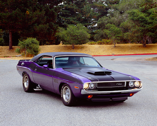 AUT 23 RK0971 01 © Kimball Stock 1970 Dodge Challenger T/A Purple 3/4 Front View On Pavement By Trees