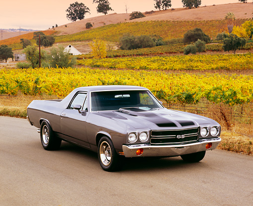AUT 23 RK1027 01 © Kimball Stock 1970 Chevrolet, El Camino, Gray Black Stripe, 3/4 Front View On Pavement By Vineyard