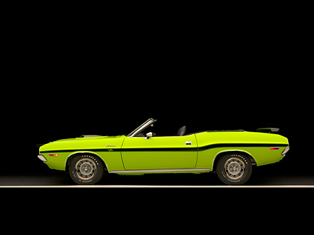 AUT 23 RK1037 01 © Kimball Stock 1970 Dodge Challenger Hemi Convertible Sublime Profile View Studio