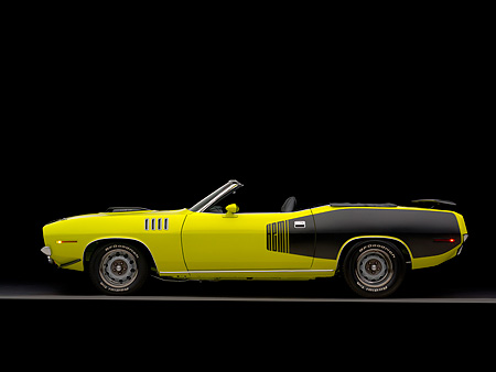 AUT 23 RK1047 01 © Kimball Stock 1971 Plymouth Hemi Cuda Convertible Curious Yellow Profile View Studio