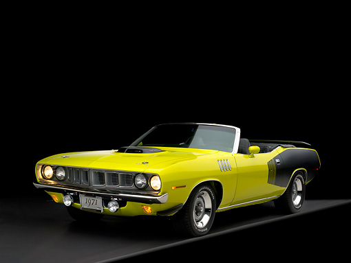 AUT 23 RK1048 02 © Kimball Stock 1971 Plymouth Hemi Cuda Convertible Curious Yellow Front 3/4 View Studio