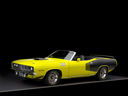 AUT 23 RK1049 01 © Kimball Stock 1971 Plymouth Hemi Cuda Convertible Curious Yellow Side 3/4 View Studio