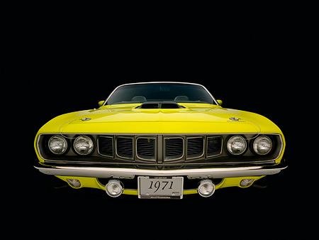 AUT 23 RK1050 01 © Kimball Stock 1971 Plymouth Hemi Cuda Convertible Curious Yellow Head On View Studio