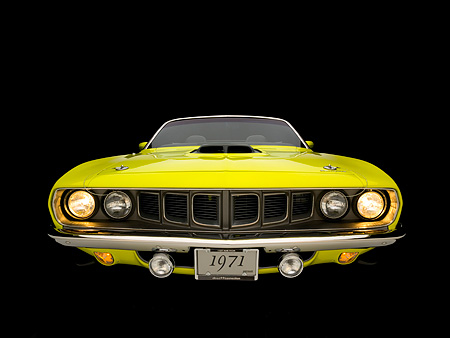 AUT 23 RK1050 02 © Kimball Stock 1971 Plymouth Hemi Cuda Convertible Curious Yellow Head On View Studio