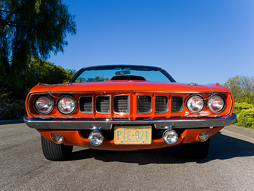 AUT 23 RK1076 01 © Kimball Stock 1971 Plymouth Hemi Barracuda Convertible Rallye Red Low Head On View On Pavement