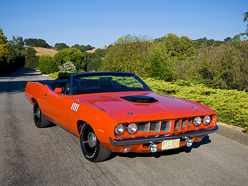 AUT 23 RK1077 01 © Kimball Stock 1971 Plymouth Hemi Barracuda Convertible Rallye Red 3/4 Front View On Pavement