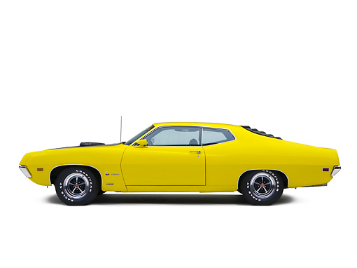 AUT 23 RK1132 01 © Kimball Stock 1970 Ford 429 Super Cobra Jet Yellow Profile View Studio