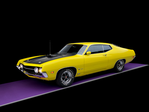 AUT 23 RK1135 01 © Kimball Stock 1970 Ford 429 Super Cobra Jet Yellow 3/4 Side View Studio