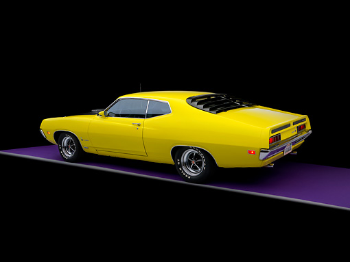 AUT 23 RK1136 01 © Kimball Stock 1970 Ford 429 Super Cobra Jet Yellow 3/4 Rear View Studio