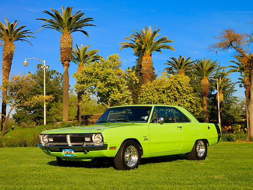 AUT 23 RK1139 01 © Kimball Stock 1971 Dodge Dart Swinger Sublime Green Low 3/4 Front   View On Grass