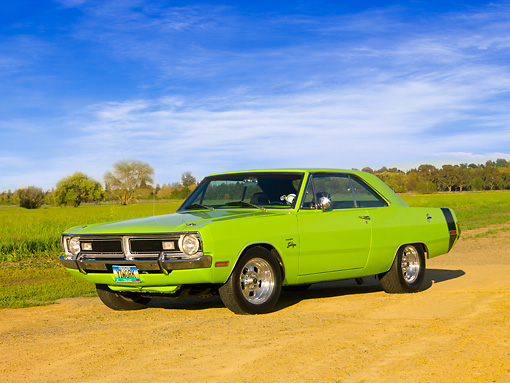 AUT 23 RK1141 01 © Kimball Stock 1971 Dodge Dart Swinger Sublime Green Low 3/4 Front   View On Dirt