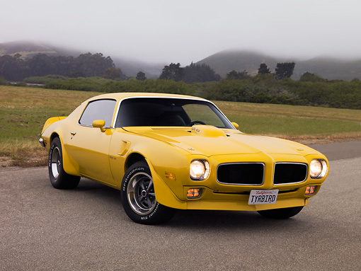 AUT 23 RK1176 01 © Kimball Stock 1971 Pontiac Firebird Trans Am Yellow Low 3/4 Front View On Pavement