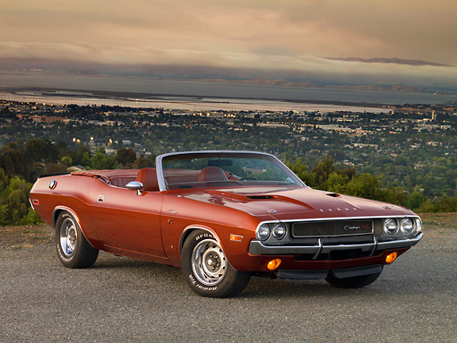AUT 23 RK1202 01 © Kimball Stock 1970 Dodge Challenger R/T Convertible Burnt Orange 3/4 Front View On Pavement