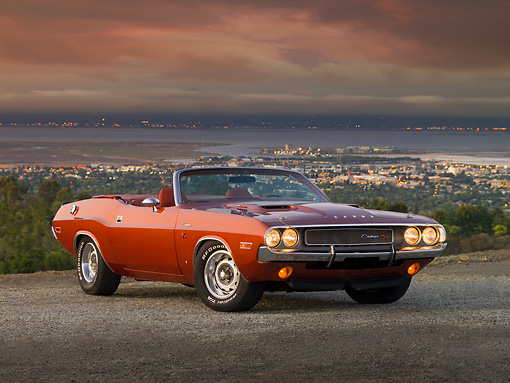 AUT 23 RK1203 01 © Kimball Stock 1970 Dodge Challenger R/T Convertible Burnt Orange 3/4 Front View On Pavement