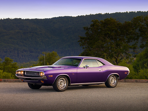 AUT 23 RK1206 01 © Kimball Stock 1970 Dodge Challenger Plum Crazy 3/4 Side View On Pavement