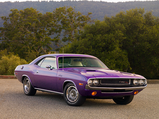 AUT 23 RK1208 01 © Kimball Stock 1970 Dodge Challenger Plum Crazy 3/4 Front View On Pavement