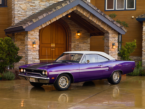 AUT 23 RK1254 01 © Kimball Stock 1970 Plymouth GTX Purple 3/4 Side View On Driveway