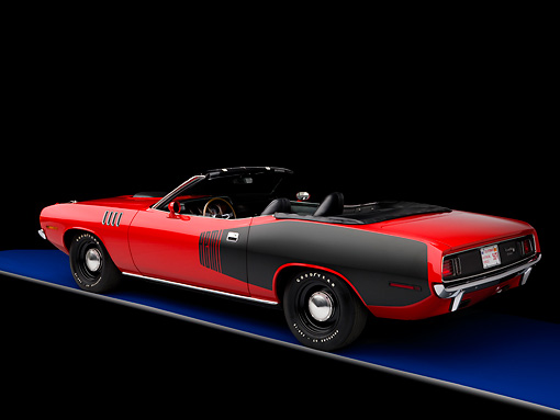 AUT 23 RK1589 01 © Kimball Stock 1971 Plymouth Hemi Barracuda Convertible Red And Black 3/4 Rear View Studio