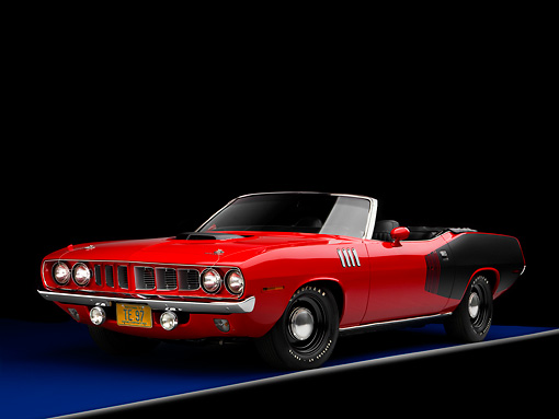 AUT 23 RK1591 01 © Kimball Stock 1971 Plymouth Hemi Barracuda Convertible Red And Black 3/4 Front View Studio