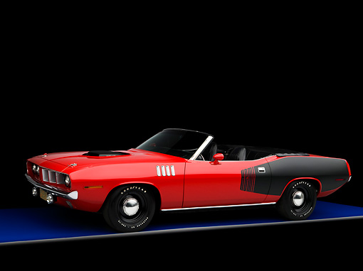 AUT 23 RK1592 01 © Kimball Stock 1971 Plymouth Hemi Barracuda Convertible Red And Black 3/4 Front View Studio