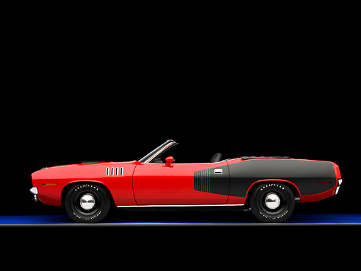 AUT 23 RK1594 01 © Kimball Stock 1971 Plymouth Hemi Barracuda Convertible Red And Black Profile View Studio