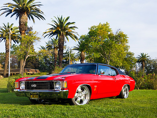 AUT 23 RK1626 01 © Kimball Stock 1972 Chevrolet Chevelle SS Red 3/4 Front View On Grass By Trees