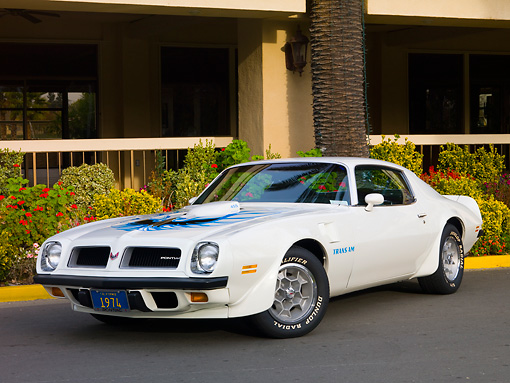 AUT 23 RK1634 01 © Kimball Stock 1974 Pontiac Trans Am White 3/4 Front View On Pavement By Building