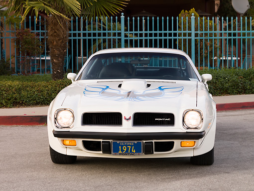 AUT 23 RK1637 01 © Kimball Stock 1974 Pontiac Trans Am White Head On View On Pavement By Fence