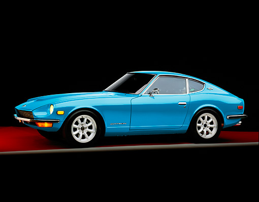 AUT 23 RK1642 01 © Kimball Stock 1970 Datsun 240Z Blue 3/4 Front View Studio