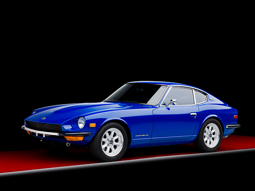 AUT 23 RK1643 01 © Kimball Stock 1971 Datsun 240Z Blue 3/4 Front View Studio