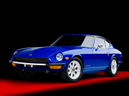 AUT 23 RK1644 01 © Kimball Stock 1971 Datsun 240Z Blue 3/4 Front View Studio