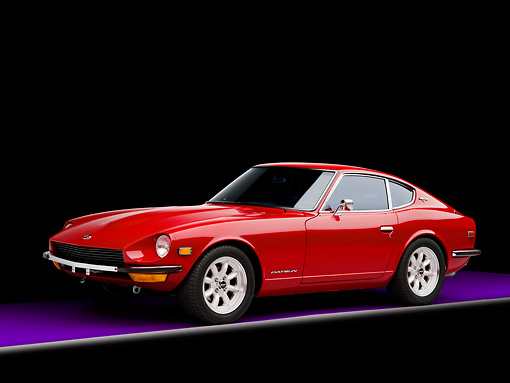 AUT 23 RK1670 01 © Kimball Stock 1971 Datsun 240Z Red 3/4 Front View Studio