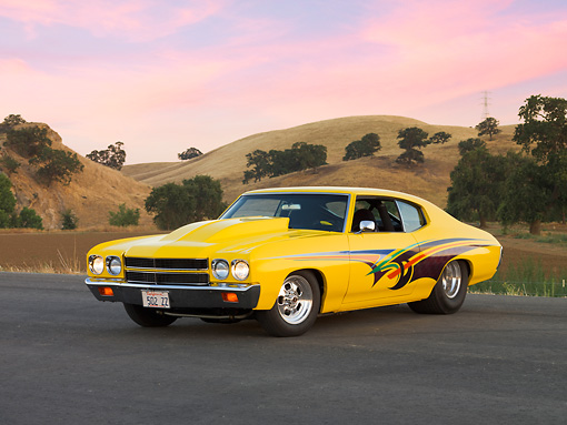 AUT 23 RK1680 01 © Kimball Stock 1970 Chevrolet Chevelle Yellow 3/4 Front View By Hill Trees