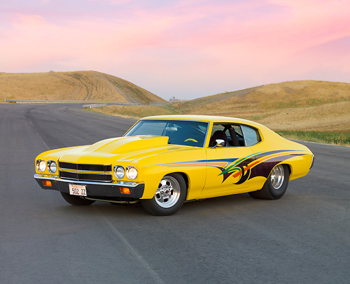 AUT 23 RK1683 01 © Kimball Stock 1970 Chevrolet Chevelle Yellow 3/4 Front View By Hill Trees