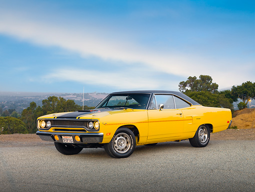 AUT 23 RK1692 01 © Kimball Stock 1970 Plymouth Road Runner Yellow 3/4 Front View On Pavement