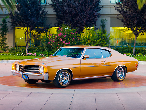 AUT 23 RK1725 01 © Kimball Stock 1972 Chevrolet Chevelle Bronze 3/4 Front View On Pavement By Trees
