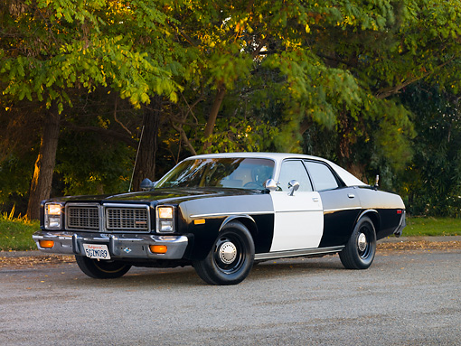 AUT 23 RK1727 01 © Kimball Stock 1977 Dodge Monaco Black And White 3/4 Front View On Road By Trees