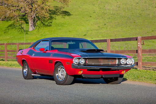 AUT 23 RK1813 01 © Kimball Stock 1970 Dodge Challenger T/A 340 Six Pak Red And Black 3/4 Front View On Pavement By Hills