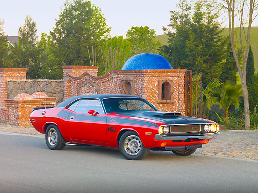 AUT 23 RK1817 01 © Kimball Stock 1970 Dodge Challenger T/A 340 Six Pak Red And Black 3/4 Front View On Pavement By Brick And Stone Wall
