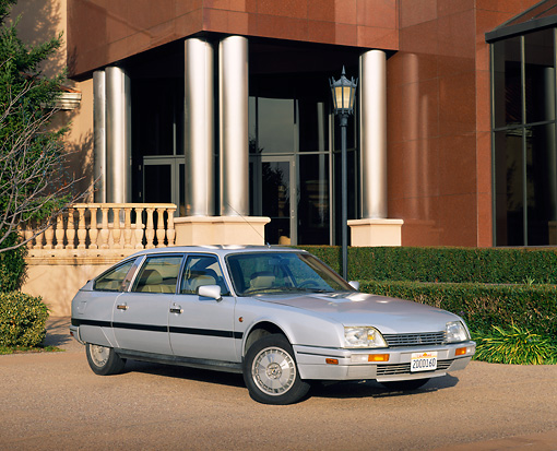 AUT 24 RK0086 03 © Kimball Stock 1986 Citroen Ex Prestige Silver 3/4 Front View By Museum